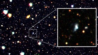 A record-breaking, oxygen-starved galaxy may be full of gigantic stars' shrapnel